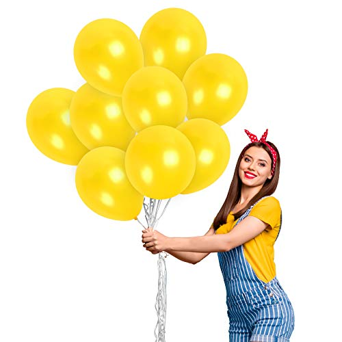 Pearl Yellow Balloons 100 Pack - Metallic Light Yellow Balloons 12 Inch - for Bumblebee Baby Shower Birthday Party Wedding Bachelorette Sunflower Party Graduation Decorations