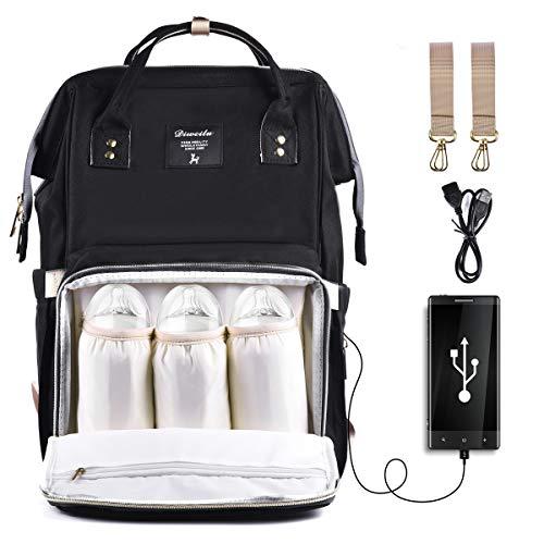 Wickeltasche Rucksack, SIYUMAOYI Wickeltasche Baby Wasserdichte Tasche mit USB-Ladeanschluss & Kinderwagen Gurte & Windel-Pad für Mama und Papa(schwarz)