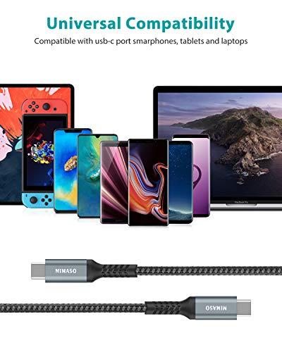 Nimaso USB C auf USB C Kabel [3 Stück/1M+2M+3M],USB Typ C PD Ladekabel 60W 20V/3A für Samsung Galaxy S21 Ultra/S20/S21+/Note20 10,Google Pixel 3a/4 XL,Huawei Xperia XZ3 iPad Pro 2020/2018,MacBook air