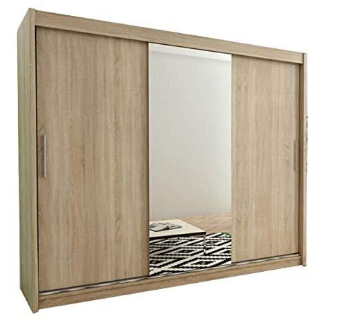 Kryspol Schwebetürenschrank Tokyo 1-250 cm mit Spiegel Kleiderschrank mit Kleiderstange und Einlegeboden Schlafzimmer- Wohnzimmerschrank Schiebetüren Modern Design (Sonoma)
