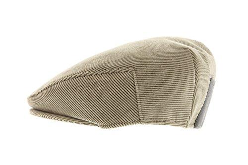 Herman Headwear - Casquette Herman en velours Beige avec faux cuir arrière - Beige 55 Homme / Femme