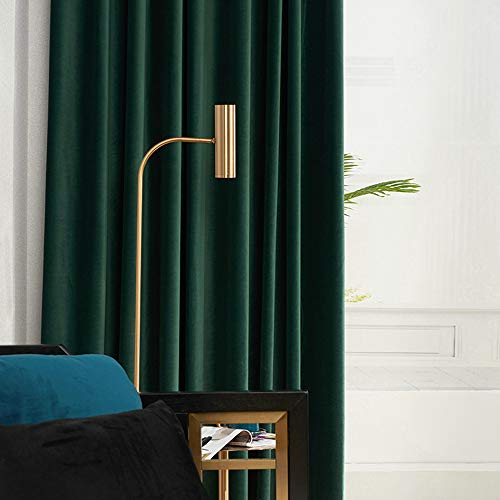 1 Pair Nordic Velvet Curtains Dark Green Luxury Blackout Curtains for Bedroom and Living Room (2 X 54 by 84 Inch,Dark Green)