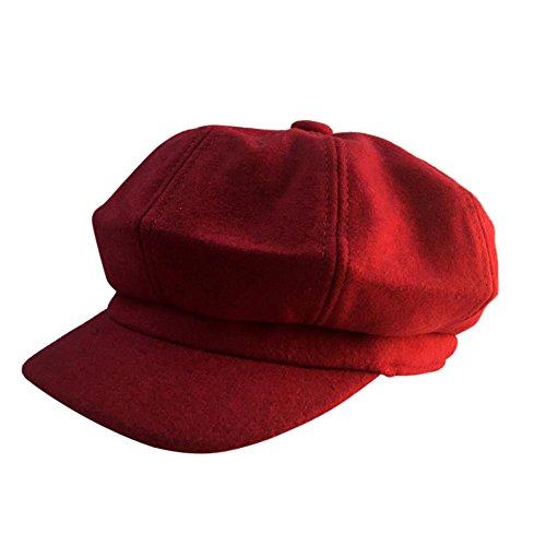 Scrox Sombrero del Pintor de la señora Boinas otoño e Invierno Mujer paseando en Elegante Sombrero de Calabaza Sombrero Octogonal de Mujer Sombrero del Boinas para Mujeres (Rojo)