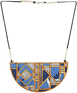 Whe Printed Fabric and MDF Maze Necklace