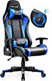 GTRACING Gaming Chair with Bluetooth Speakers Music Video Game Chair Audio【Patented Design】 Heavy Duty Ergonomic Office Computer Desk Chair GT890M Blue