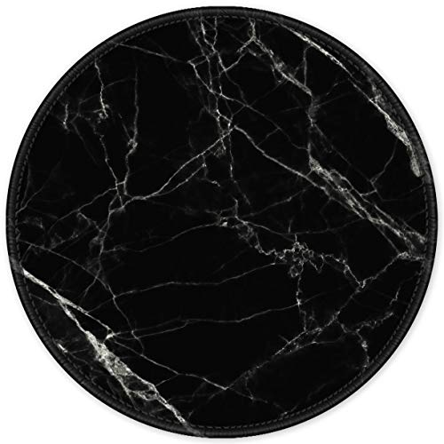 Auhoahsil Mouse Pad, Round Marble Theme Anti-Slip Rubber Mousepad with Durable Stitched Edges for Gaming Office Laptop Computer Men Women Kids, Cute Custom Design, 8.7 x 8.7 in, Pretty Black Marble