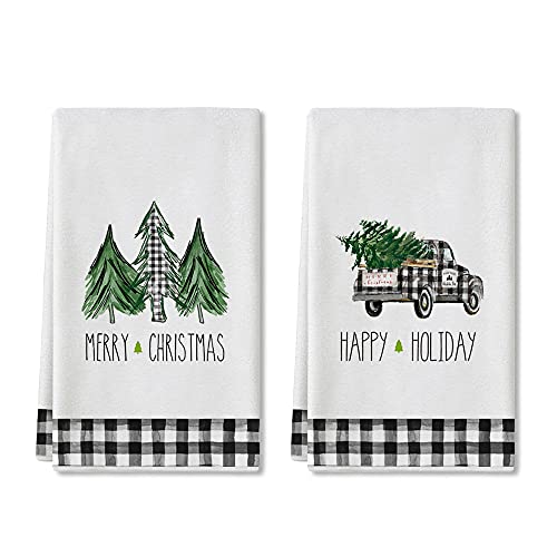 Artoid Mode Happy Holiday Buffalo Plaid Truck Trees Kitchen Towels and Dish Towels Merry Christmas, 18 x 28 Inch Winter Xmas Holiday Ultra Absorbent Drying Cloth Tea Towels for Cooking Baking Set of 2
