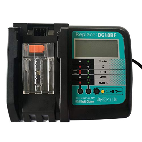 Ersatz 6.5A Schnellladegerät DC18RF für Makita 14,4 Volt und 18 Volt Schiebeakkus BL1830 BL1840 BL1850 BL1860 BL1430 BL1440 BL1450 Werkzeugakku DC18RC Ladegerät mit LED-Bildschirm