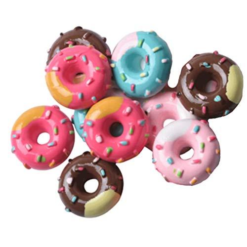 Aisoway 10 PC-Simulation Lebensmittel Spielen Donut Anhänger handgemachte DIY Schokolade Harzzusätze Haarseil Kinder Handy-Schönheit