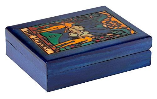 Artisan Owl Polish Handmade The Lovers Tarot Wooden Box with Vivid Colors