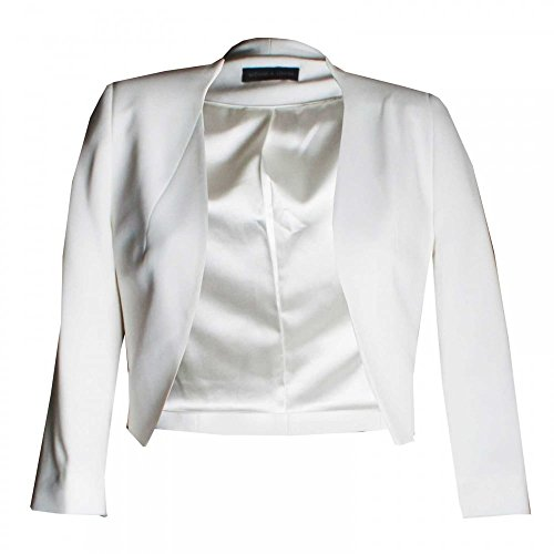 Michaela Louisa Women's Long Sleeve Tailored Bolero 18 White