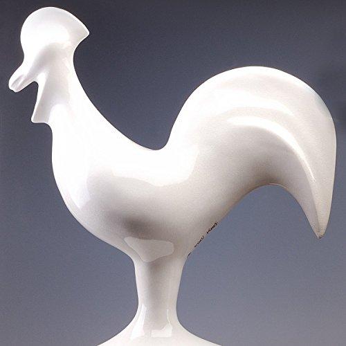 Sculpture décorative – Coq, Porcelaine Blanche Émaillée, fait à la main. Le Coq Est Le Symbole du soleil que l'alba annonce le soleil, la vie, la chance... Figurine décorative moderne de design.