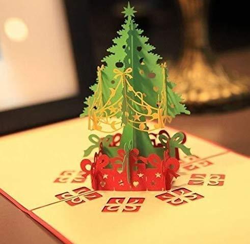 Feliz árbol de Navidad hecho a mano de Acción de Gracias Origami 3D Pop Up Papel Tarjeta de felicitación hecha a mano para eventos de Navidad Suministros de fiesta