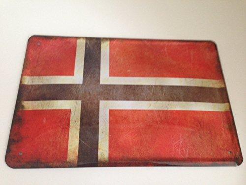 Blechschild Länder Fahne National Flagge Norwegen Norway 20x30 cm Deko Retro-Erscheinungsbild 24