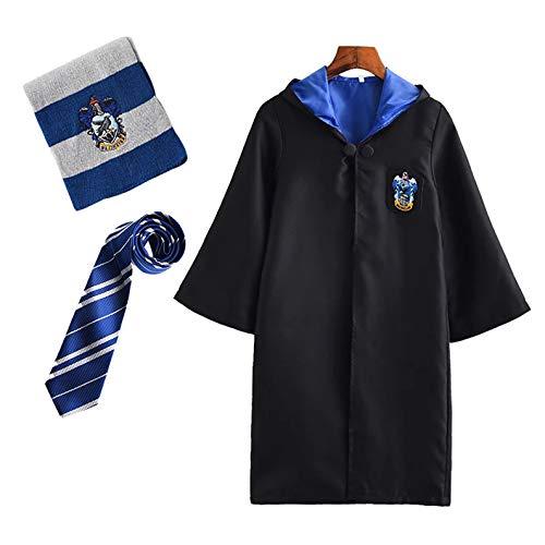 FStory&Winyee Harry Potter Kostüm Kinder Erwachsene Gryffindor Hufflepuff Ravenclaw Slytherin Fanartikel Halloween Fasching Outfit Set Unisex Umhang,Brille,Schal,Krawatte