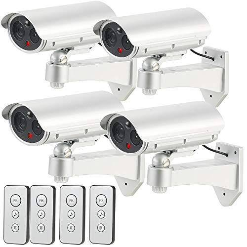 VisorTech Gefälschte Kamera: 4er-Set Überwachungskamera-Attrappen, Bewegungsmelder, Alarm-Funktion (Videoüberwachung-Attrappen)