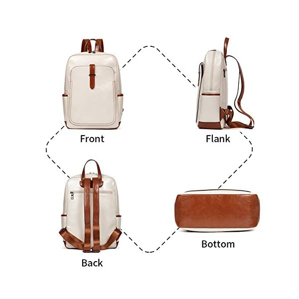 BROMEN Leather Laptop Backpack for Women 15.6 inch Computer Backpack College Travel Daypack Bag 3