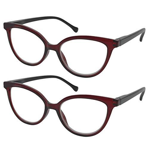 TBOC Gafas de Lectura Presbicia Vista Cansada - [Pack 2 Unidades] Graduadas +1.00 Dioptrías Montura de Pasta [Burdeos] de Diseño Moda Mujer Lentes de Aumento Leer Ver de Cerca con Bisagra Muelle