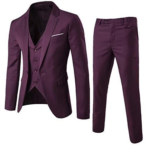 KPILP 3-teiliger Anzug, Sales Herren Elegant Slim Blazer Business Solid Sakkos Hochzeit Jacke Weste & Hosen Herbst Winter(Weinrot,EU-48/CN-S)