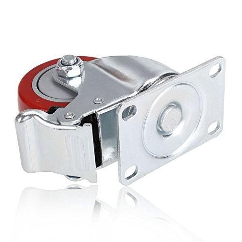 41mgqTadloL. SL500  - Set de 4 Ruedas Giratorias con Freno, 75mm Diámetro Industriales Ruedas para Muebles, Capacidad de carga máxima 1200 lbs (Rojo) (Rojo y plata)