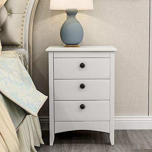 Mesita de noche blanca con patas de madera maciza, cómoda ancha completamente montada, armario de almacenamiento de madera para dormitorio, sala de estar