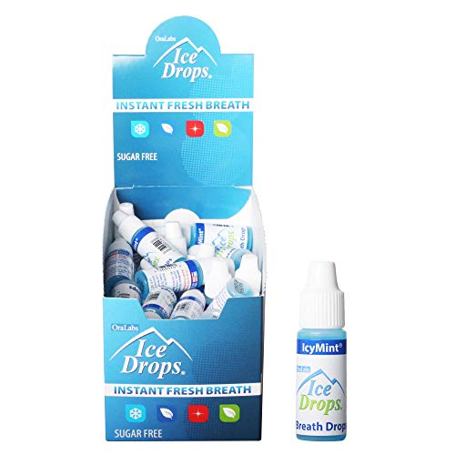 Ice Drops | Flavored Breath Drops - Instant Fresh Breath, Sugar Free, Fat Free - 3.2mL Droppers - 50 count Display (IcyMint)