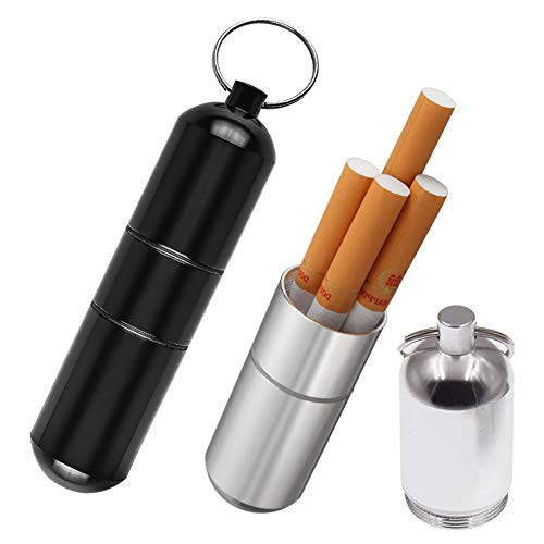 Joint Case Holder,Smell Proof Case Doob Tube Container Waterproof Keep Herbs Fresh (Black/Silver,2 Pack)