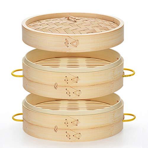 Minmi Bamboo Steamer,Plus Ear Steamer Heightened And Deepened Bamboo Handmade Household Bamboo Braided Steamer Steamed Buns Steamed Grid Bamboo Xiaolongbao Steamer