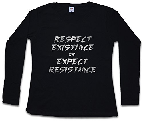 Urban Backwoods Respect Existance Or Expect Resistance Women T-Shirt Mujer Camiseta de Manga Larga Negro Talla XS