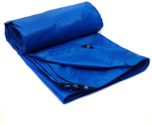 FFJD Blue Tarp for Sun and Rain PVC Coated Cloth Tarpaulin Anti-oxidation Mildew Proof Tear Resistance-5m×7m