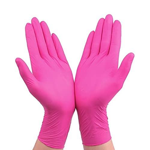 Pink Gloves Guantes de látex de caucho de nitrilo desechables Cocina universal Limpieza del hogar Jardinería Guantes negros morados 100pcs-Pink 100pcs, Pd, M