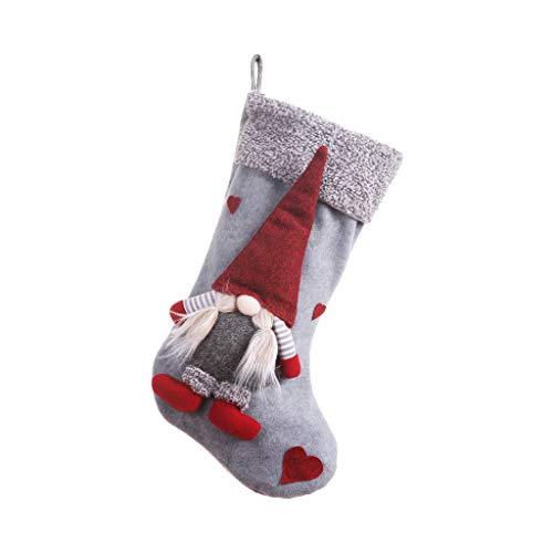 Meikong - Sacchetto Per Regalini Natalizi A Forma Di Calza Di Natale, Svedese, GNOMO Svedese, Ciondolo Decorativo Per La Casa Grigio
