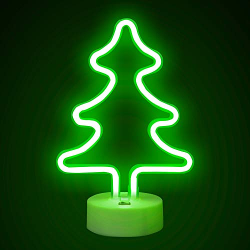 FUNPENY Christmas Tree Neon Christmas Decorative Light, LED Neon Light Sign with Holder for Party Supplies Kids Room Decoration Accessory for Christmas Table Decoration, Children Kids Gifts
