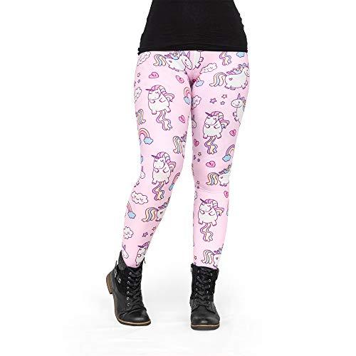 Pealu Leggings Damen Fullprint Einhörner Pink Einheitsgröße (34/XS bis 44/L) Passgenaue Hose Trainingshose Jogging Sport Freizeit
