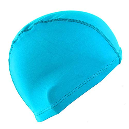 Fewear Swimming Cap Women Men with Great Elasticity Ear Protection - Nylon Swim Cap Waterproof- Best for Short and Medium Long Hair - Adult Swim Cap - Youth Swim Cap - Swim Hats (Sky Blue)