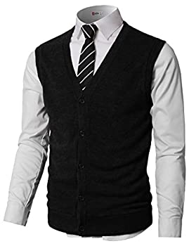 H2H Men s V-Neck Solid Color Button-Down Wool Sweater Vest Cardigan Black US XL/Asia 2XL  CMOV046