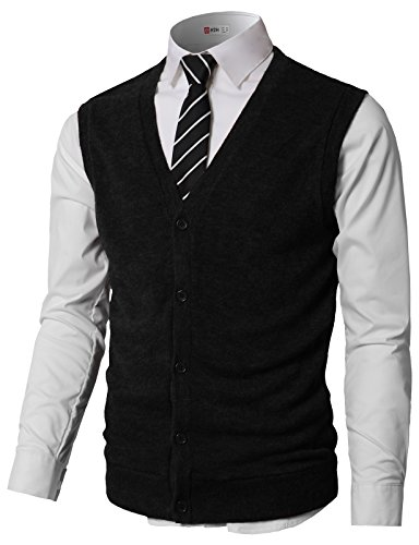 H2H Men's Solid Color V-Neck Argyle Pattern Button Down Sweater Vest Cardigan with Pockets Black US L/Asia XL (CMOV046)