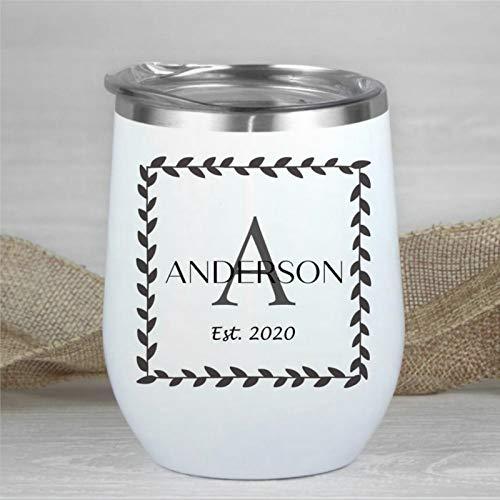 Taza de vino personalizada con nombre de letra Est 2020, decoración rústica, taza de viaje de inauguración de la casa, copa de vino de doble pared, acero inoxidable, aislada, copa de vino de 12 onzas