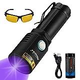 Alonefire X901UV 10W 365nm Linterna UV Profesional Recargable USB Linterna Ultravioleta Potente Mascotas Orina Detector para Curado de Resina, Mancha seca con Gafas de Protección UV, Batería 26650