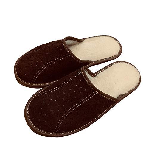 Handgefertigte Leder Schafwolle Warm Winter Brown Herren Herren Pantoffeln Indoor Pantoffeln plus Größe 41-46
