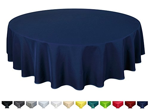 Home Direct Qualitäts Tischdecke Textil Rund 140 cm, Farbe wählbar Dunkelblau