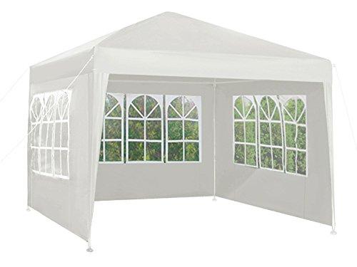 Iso Trade Gartenpavillon Pavillon 3x3 + 3 Wände 3 Farben Gartenzelt 5119, Farbe:Weiß