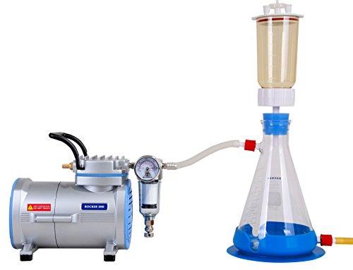 Vakuumfiltrationsset komplett mit Rocker-Laborpumpe, PES-Filterhalterset LF31 300ml Ø47mm und Glas-Auffanggkolben