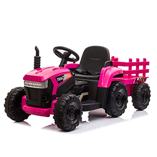 TOBBI 12v Battery-Powered Toy Tractor with Trailer and 35W Dual Motors,3-Gear-Shift Ground Loader Ride On with LED Lights and USB&Bluetooth Audio Functions in Rose Red