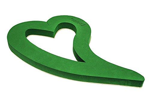 MOSY Steckmasse-Herz, 85 cm, zum Legen, Holzunterl, Steckschaum, Blumen-Gestecke, Hochzeit