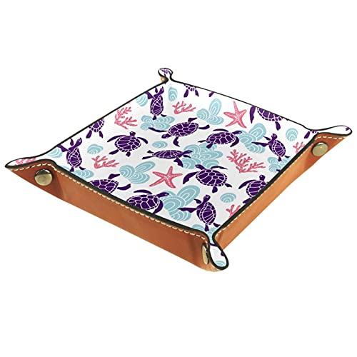 AITAI Bandeja de valet de cuero vegano, organizador de mesita de noche, placa de almacenamiento para escritorio, tortugas marinas
