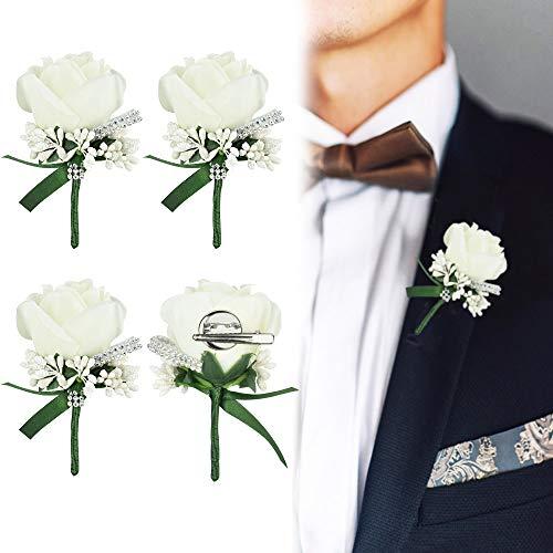 AFASOES 4 Pcs Boutonniere Mariage Fleur Blanc Boutonniere Corsage Accessoire Fleur Artificielle avec Pin pour Fête Mariage Homme Costume de Décoration