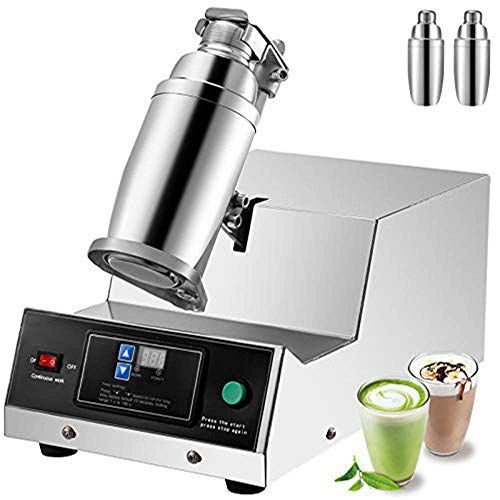 JALAL Milk Tea Shaker 80W Single Head 110V Auto Bubble Boba Shaking Machine Digital Display Control Stainless Steel 0-180s timing Including Two 750ML Cups