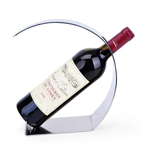 MSF Nowoczesne regały na wino z metalu, mały 1 uchwyt na butelki wina na blaty kuchenne, pojedyncza butelka ze stali nierdzewnej z regałem na wino, 15 x 9 x 24,5 cm