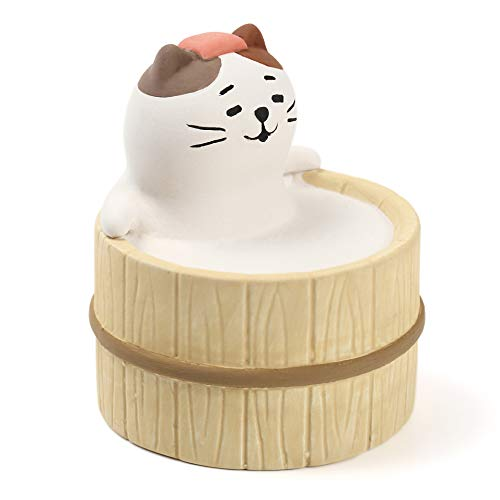 Aroma Ceramic Stone Diffuser [Japan Import] Aromatherapy Essential Oil Diffuser, Non Electric, Passive, Unique, Cute, Animal, Design for Women, Men, and Gifts (Bathing Cat)